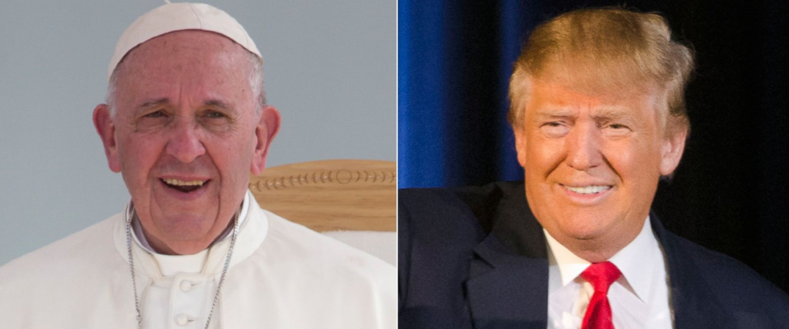 PHOTO:Pope Francis at Jose Maria Morelos Stadium, Feb. 16, 2016, in Morelia, Mexico.Donald Trump on stage at a campaign stop, Feb. 17, 2016, in Bluffton, S.C.