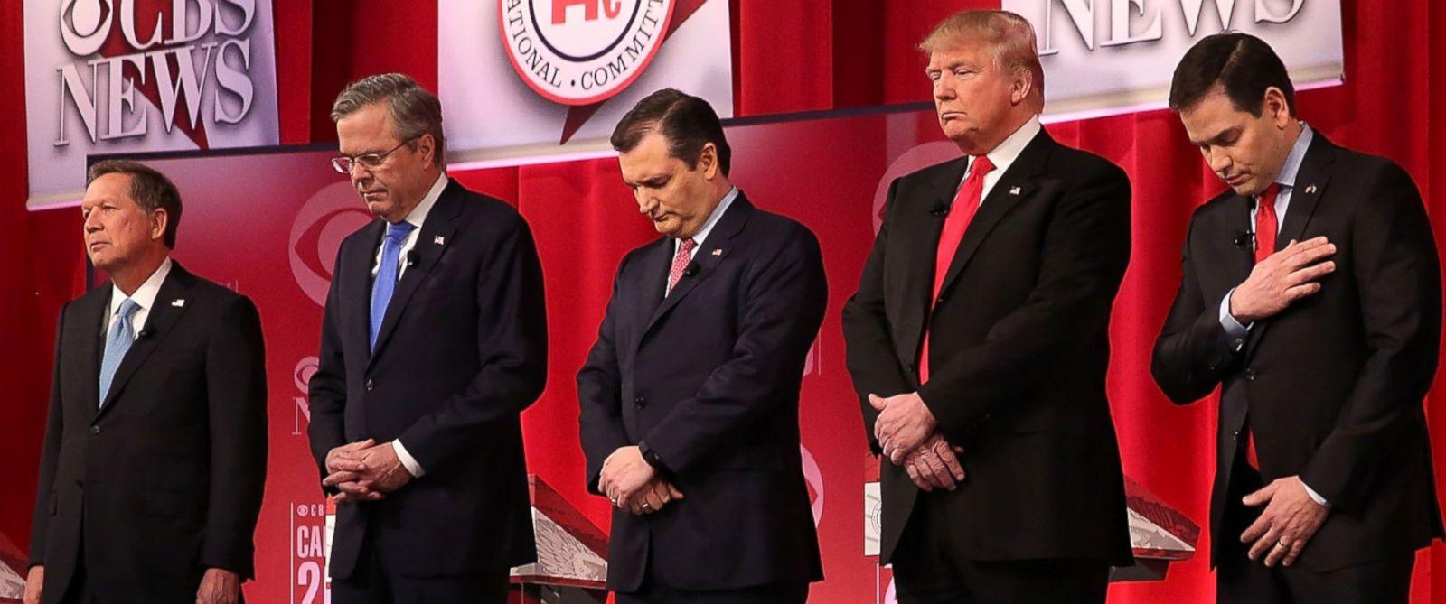 PHOTO: From left, Republican presidential candidates Ohio Gov. John Kasich, Jeb Bush, Sen. Ted Cruz, Donald Trump and Sen. Marco Rubio participated in a moment of silence for U.S. Supreme Court Justice Antonin Scalia, Feb.13, 2016, in Greenville, S.C.