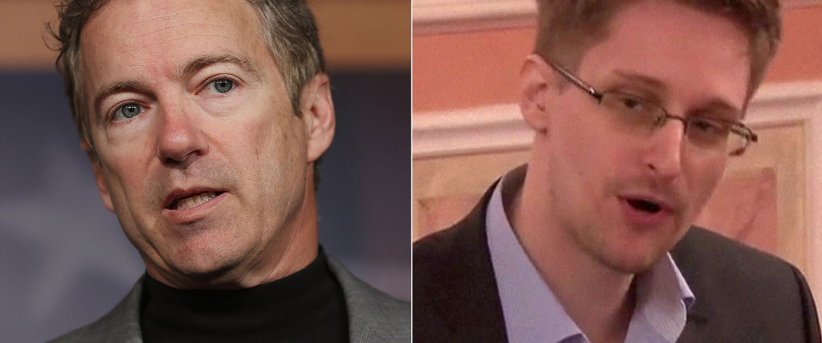 PHOTO: (L-R) Sen. Rand Paul, R-KY, in Washington, March 13, 2013.   Edward Snowden in a frame grab made from AFPTV footage at an unidentified location, Oct. 9, 2013.