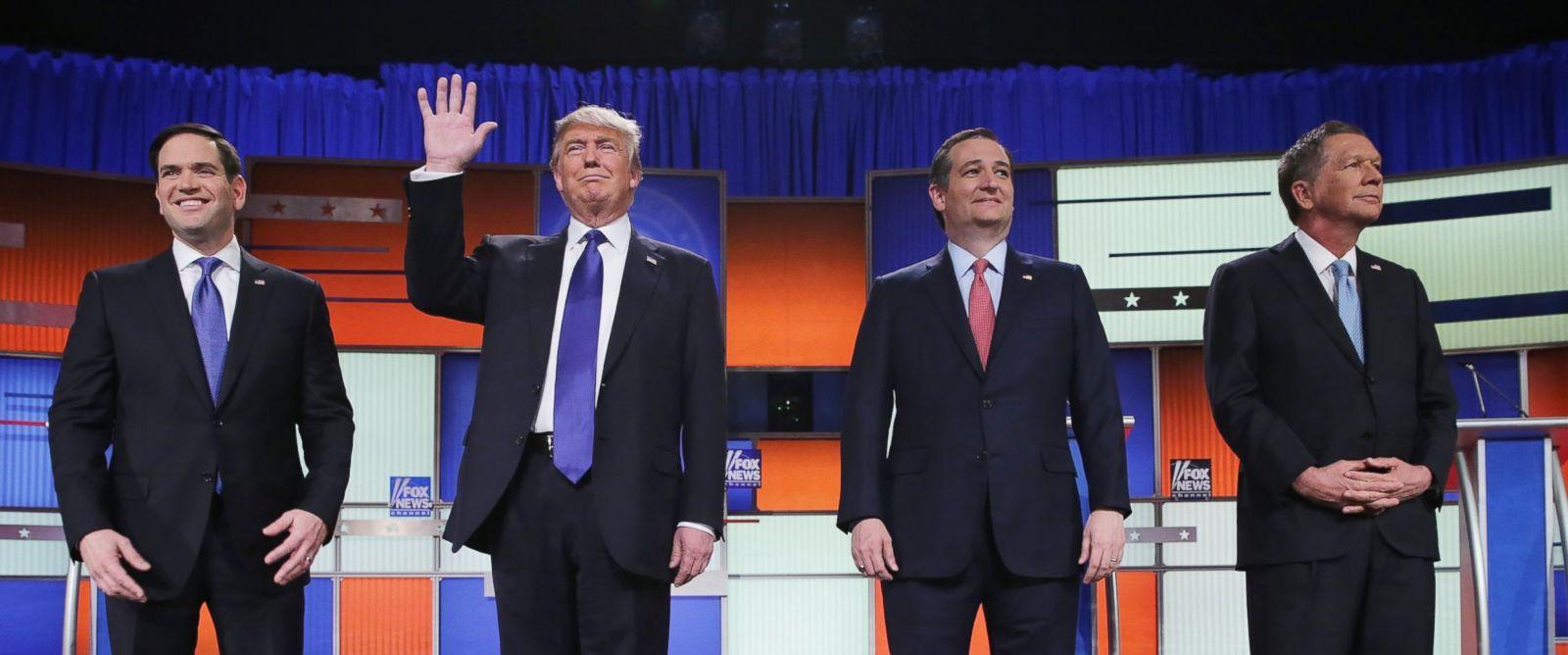 PHOTO: Republican presidential candidates Sen. Marco Rubio, Donald Trump, Sen. Ted Cruz, and Ohio Gov. John Kasich, participate in a debate sponsored by Fox News on March 3, 2016 in Detroit.