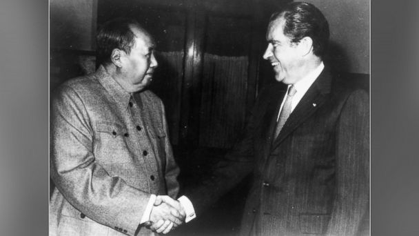 PHOTO: Former Chinese communist leader Chairman Mao Zedong shakes hands with former US president Richard Nixon in Beijing.