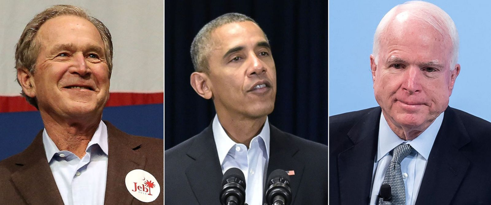PHOTO: George W. Bush stands on stage before speaking , Feb. 15, 2016 in North Charleston, South Carolina. Barack Obama speaks in Washington, February 13, 2016. John McCain speaks at the 2016 Munich Security Conference, Feb. 14, 2016 in Munich, Germany.