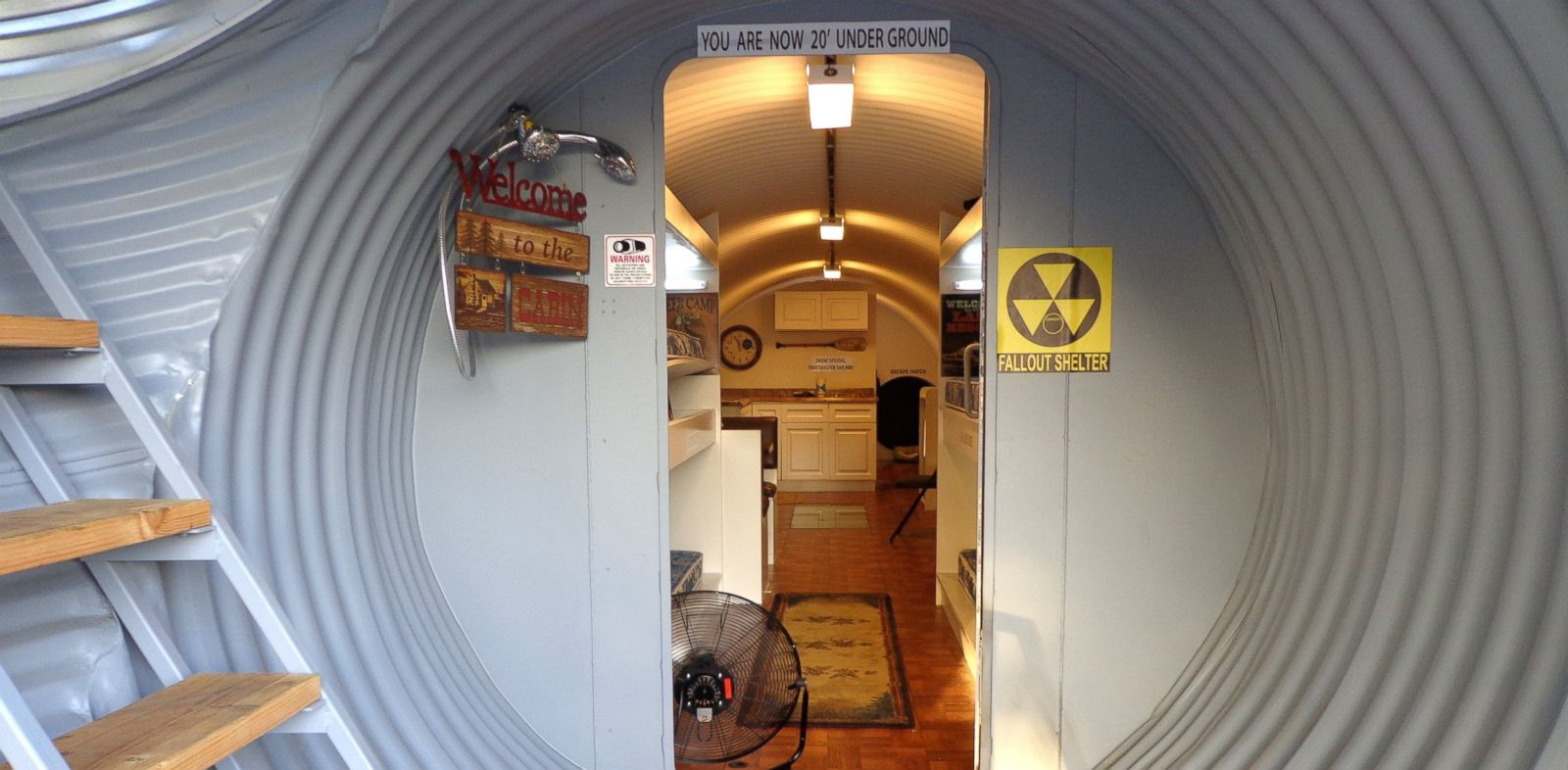 PHOTO: A view of a survival shelters decontamination area leading into the living area of a bomb-proof shelter for sale in Montebello, Calif.