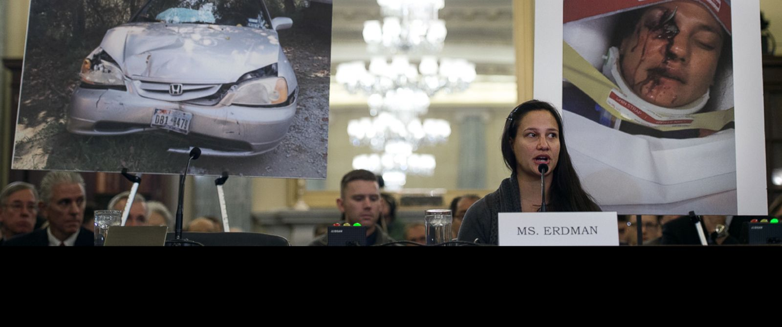 PHOTO: Air Force Lt. Stephanie Erdman testifies before the US Senate Committee on Commerce, Science, and Transportation on Capitol Hill in Washington, Nov. 20, 2014, on the Takata airbag defects and the vehicle recall process.