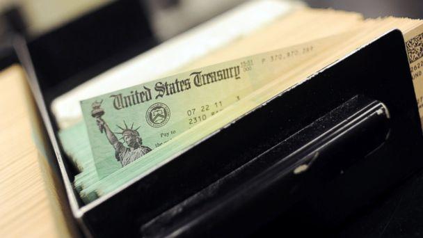 PHOTO: U.S. Treasury checks are piled at the U.S. Treasury