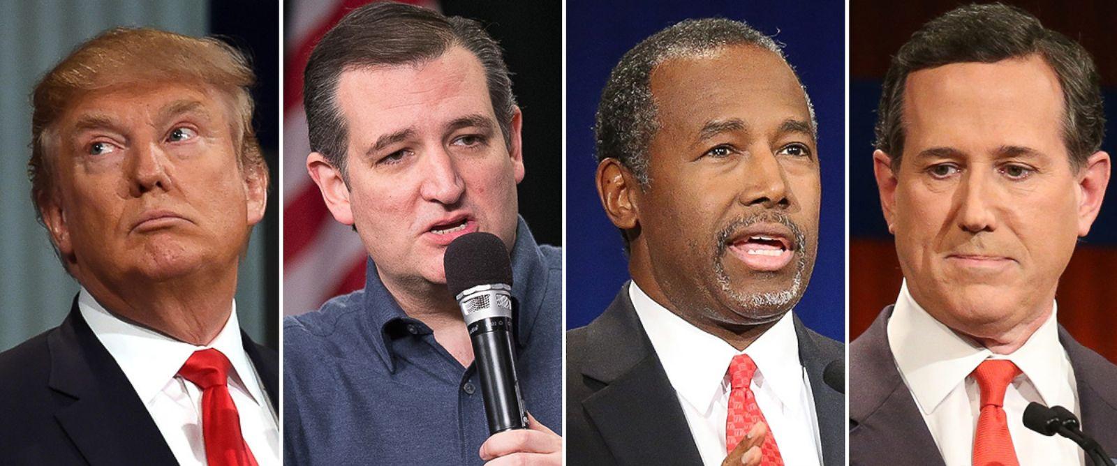 PHOTO: Donald Trump, Sen. Ted Cruz, Ben Carson and Rick Santorum.