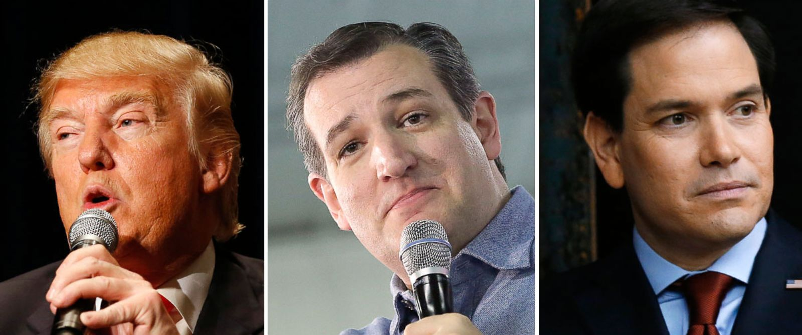 PHOTO: Donald Trump, Sen. Ted Cruz, and Sen. Marco Rubio.