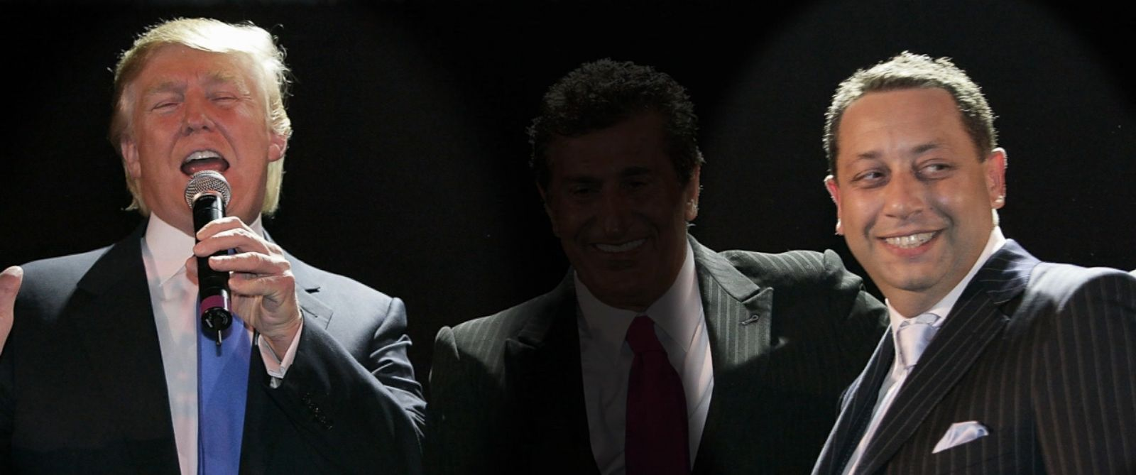 PHOTO: Donald Trump, highlighted left, stands with Felix Sater, highlighted right, at the Trump SoHo Launch Party on Sept. 19, 2007 in New York. Highlights added by ABC news.