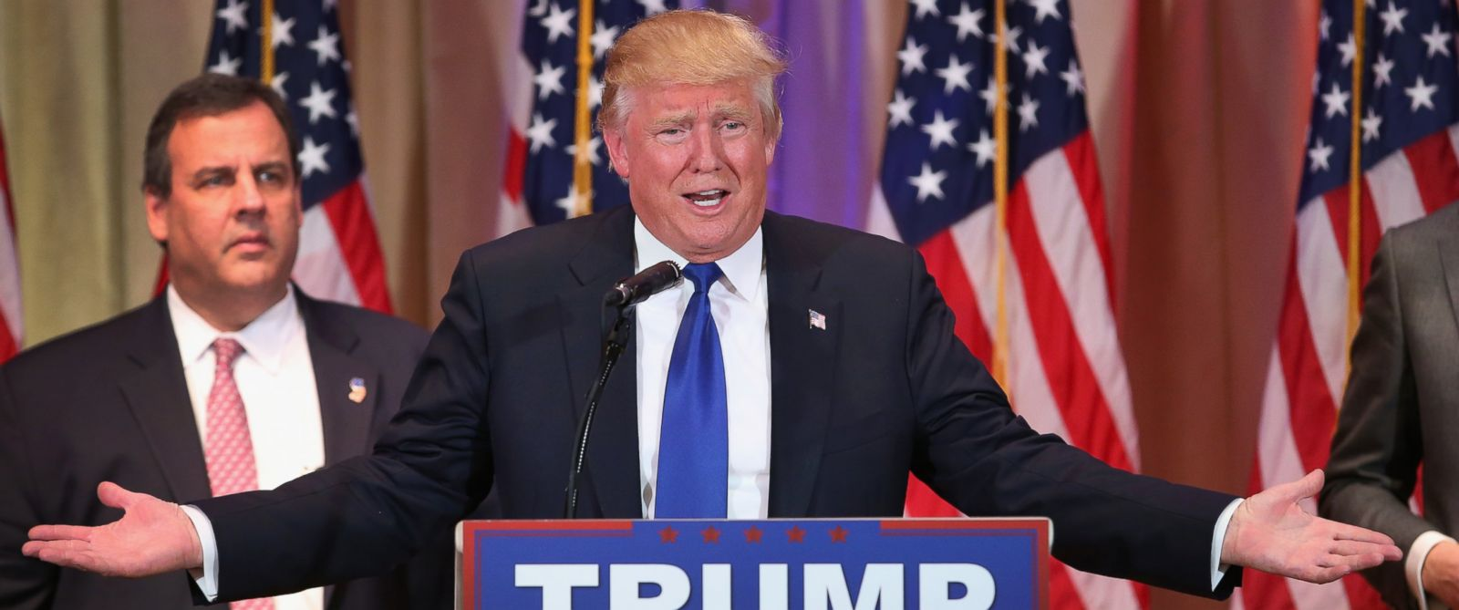 PHOTO: Donald Trump speaks to the media, March 1, 2016, in Palm Beach, Florida.