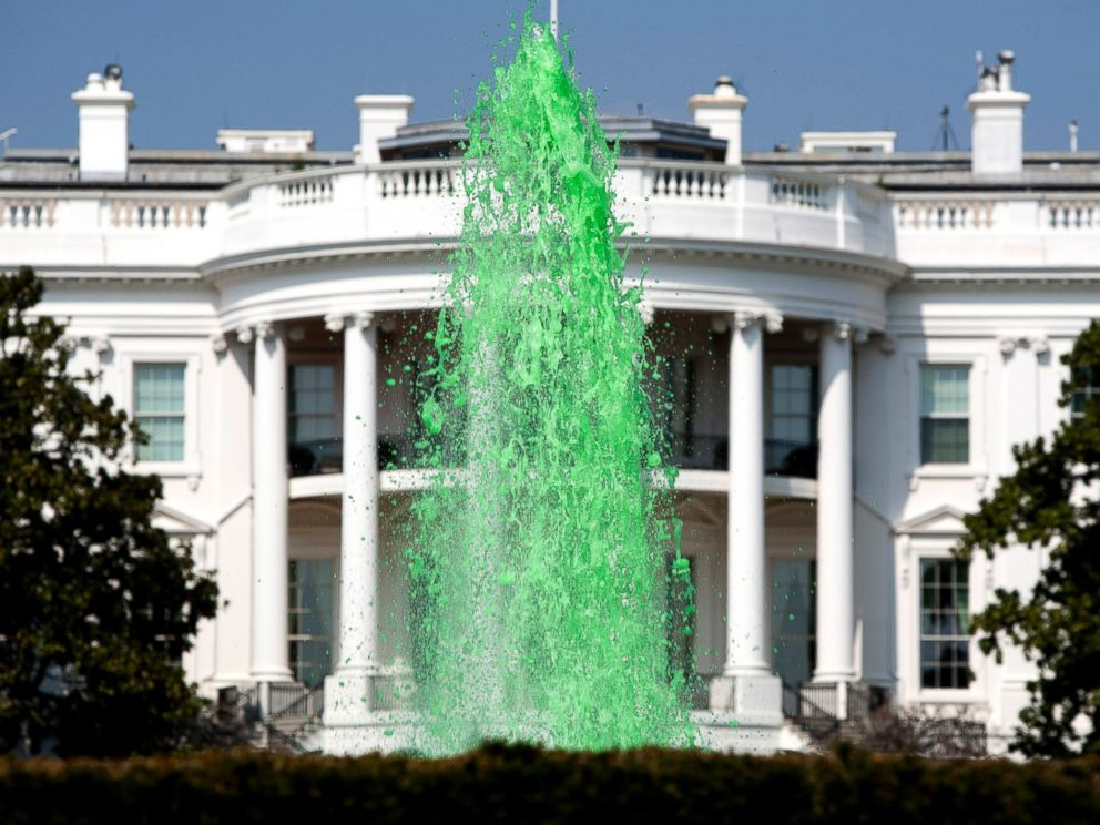 PHOTO: Green water flows in the fountain on the South Lawn of the White House in celebration of St. Patricks Day, March 17, 2012, in Washington.