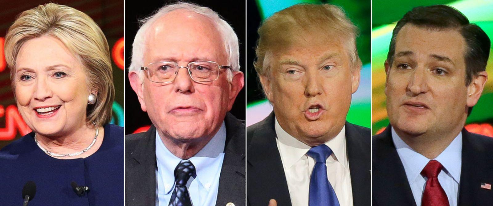 PHOTO: (L-R) Democratic presidential candidates Hillary Clinton and Senator Bernie Sanders (D-VT) speak on March 6, 2016 in Flint, Mich. | Republican presidential candidates Donald Trump and Sen. Ted Cruz (R-TX) speak on Feb. 25, 2016 in Houston.