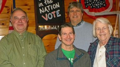 PHOTO: Voters gather at Log Haven Restaurant in Millsfield, NH. The tavern will host the towns first midnight vote in 60 years. From left to right: Wayne Urso, Charles Sheldon, Roland Proulx and Sonja Sheldon.