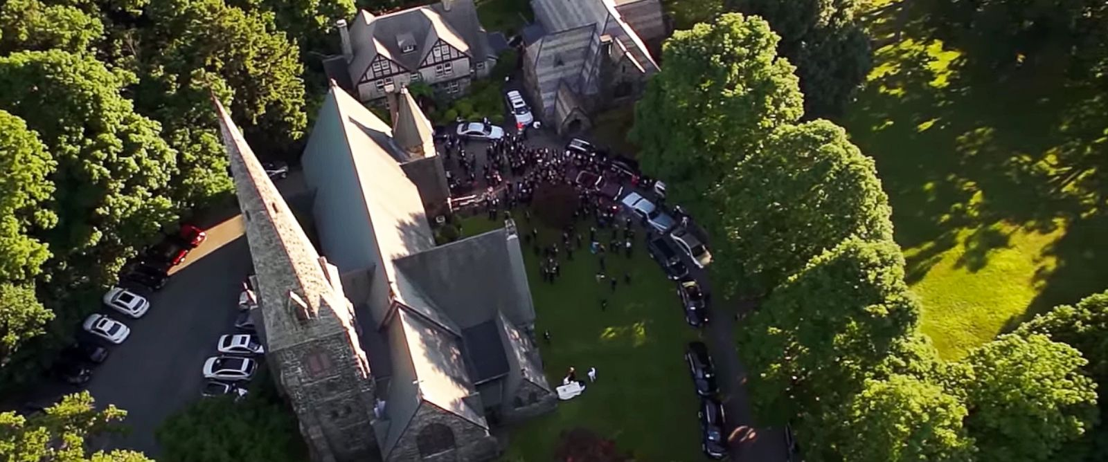 PHOTO: An aerial footage from Rep. Sean Patrick Maloneys June 21 wedding to longtime partner Randy Fluke in Cold Spring, New York is seen in this video grab.