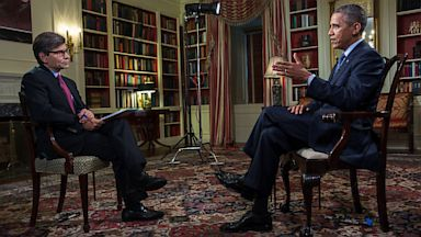 """PHOTO: President Barack Obama is interviewed by George Stephanopoulos for ABCs Sunday morning program """"This Week"""""""