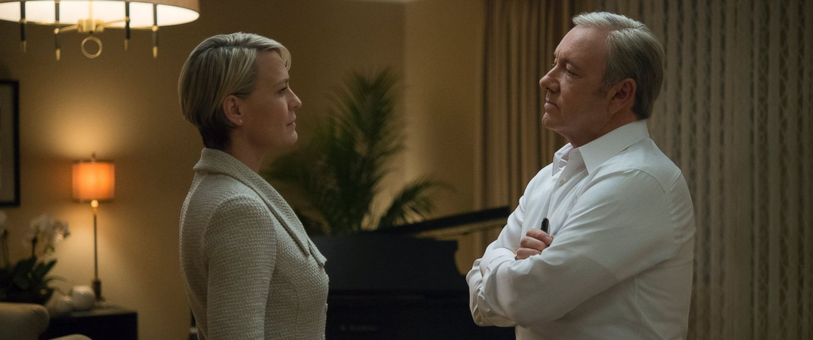 """PHOTO: Kevin Spacey and Robin Wright portray Frank and Claire Underwood in season four of the Netflix original series """"House of Cards."""""""