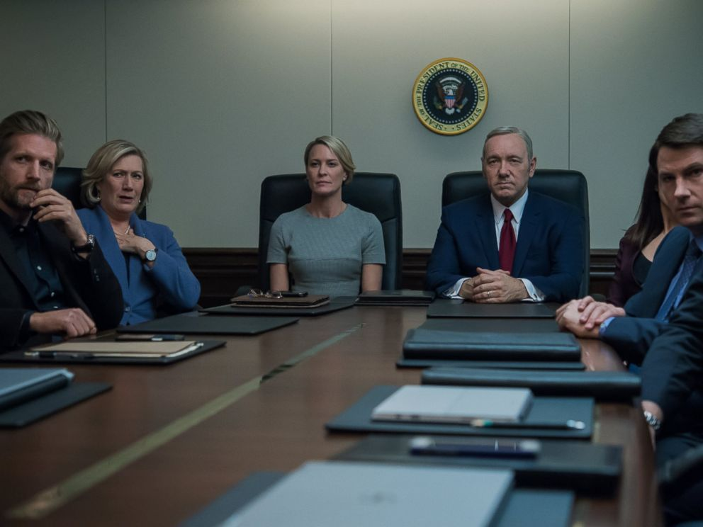 PHOTO: Kevin Spacey and Robin Wright portray Frank and Claire Underwood in season four of the Netflix original series House of Cards.