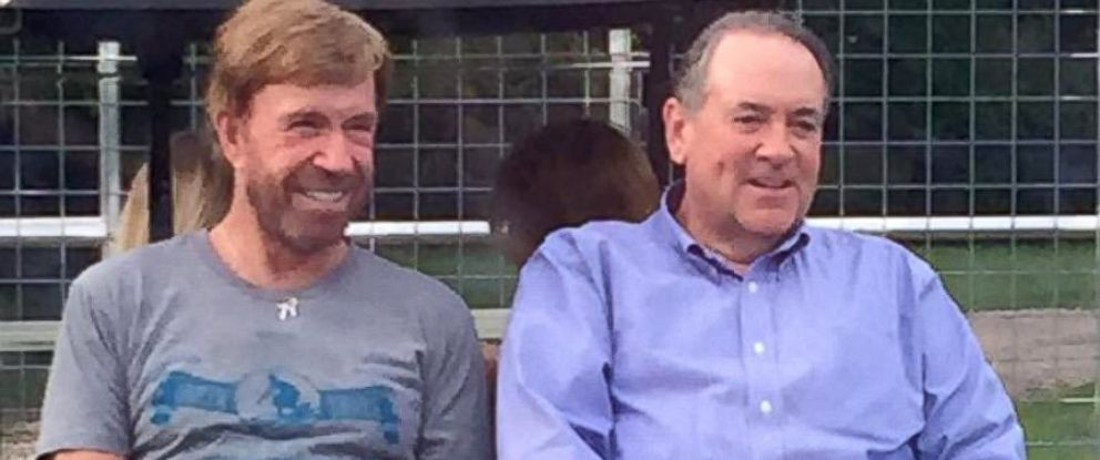 Chuck Norris Hosts Mike Huckabee Supporters at His Texas Ranch