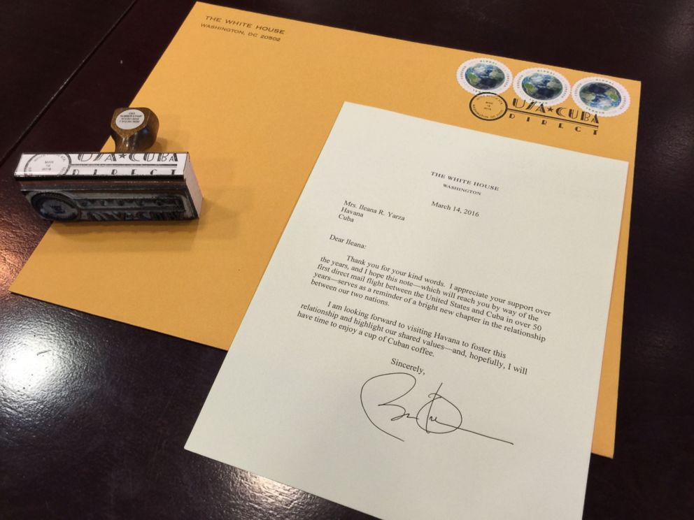 PHOTO: President Obama wrote a letter to Ileana Yarza, a 76-year-old letter write in Cuba.