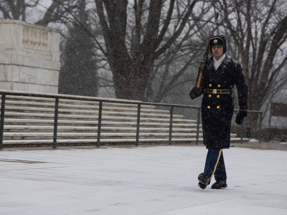 PHOTO:Sentinels from the 3d U.S. Infantry Regiment (The Old Guard) continue to stand guard at the Tomb of the Unknown Soldier at Arlington National Cemetery, Va., Jan. 22, 2016.