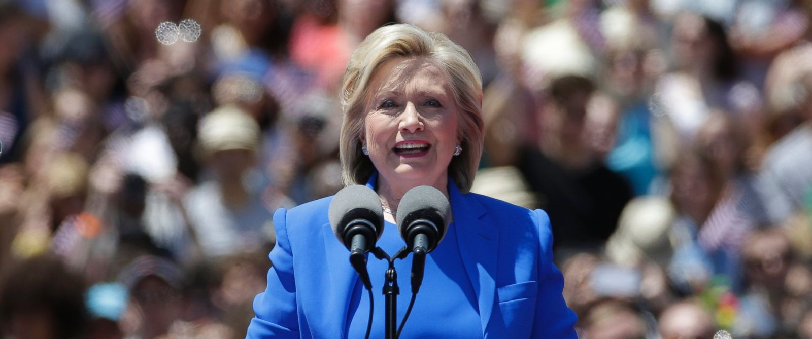 """PHOTO: Democratic presidential candidate Hillary Clinton delivers her """"official launch speech"""" at a campaign kick off rally in Franklin D. Roosevelt Four Freedoms Park on Roosevelt Island in New York City, June 13, 2015."""