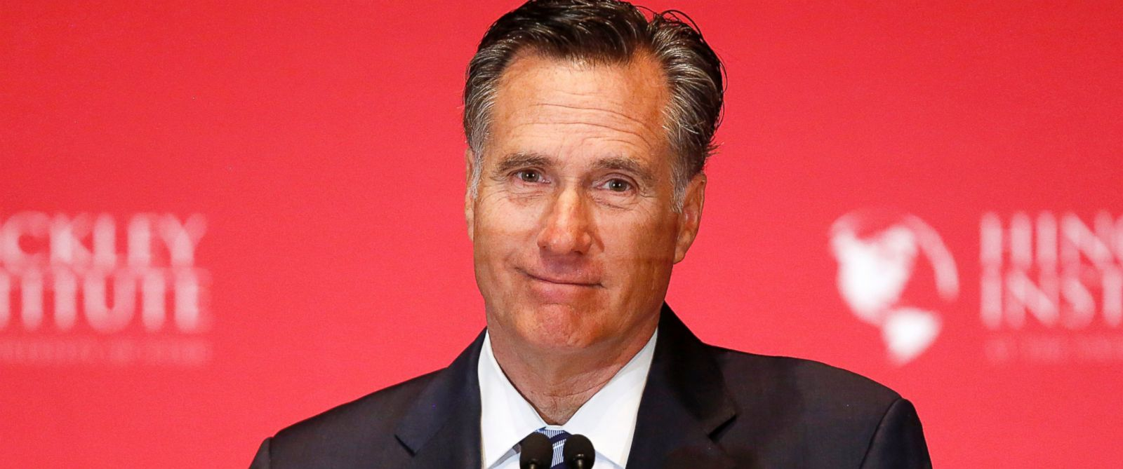 PHOTO: Mitt Romney pauses as he delivers a speech criticizing current Republican presidential candidate Donald Trump at the Hinckley Institute of Politics at the University of Utah in Salt Lake City, March 3, 2016.