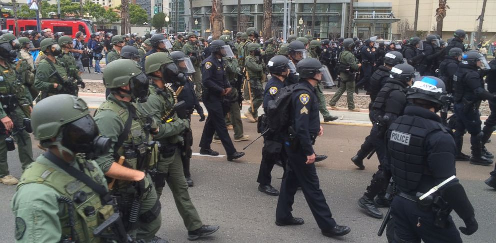 PHOTO: Police in riot gear at the scene of a Trump rally protest in San Diego, Calif. on May 27, 2016.