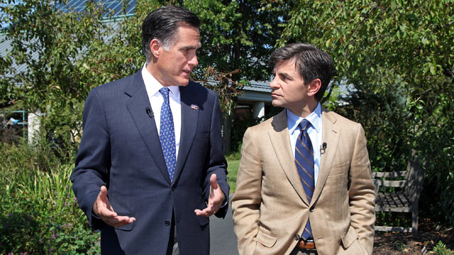 PHOTO: George Stephanopoulos, right, sat down with Mitt Romney in Vienna, Va., for an exclusive interview, Sept. 13, 2012.