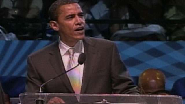 PHOTO: Screen grab of then-Senator Barack Obama making a speech in June 2007 at Hampton University in Virginia. In the speech, Obama praised Rev. Jeremiah Wright, and suggested the federal government discriminated against the victims of Hurricane Katrina.
