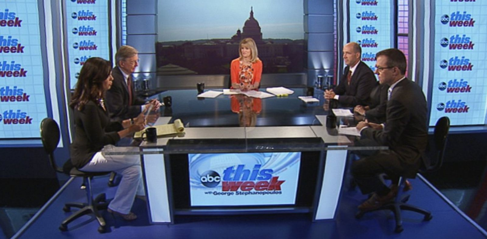 PHOTO: ABC News George Will, ABC News Political Analyst and Correspondent Matthew Dowd, ABC News Washington Correspondent Jeff Zeleny, Starfish Media Group CEO Soledad OBrien, and Center for American Progress President Neera Tanden on This Week