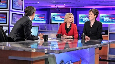 """PHOTO: Ranking Member on the Homeland Security Committee Sen. Susan Collins (R-Maine) and Member of the House Committee on Oversight and Government Reform Rep. Carolyn Maloney (D-New York) on """"This Week."""""""