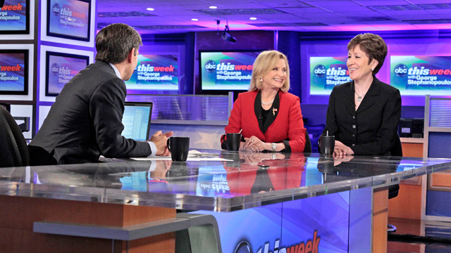 "PHOTO: Ranking Member on the Homeland Security Committee Sen. Susan Collins (R-Maine) and Member of the House Committee on Oversight and Government Reform Rep. Carolyn Maloney (D-New York) on ""This Week."""