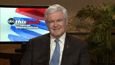 """PHOTO: Republican Presidential Candidate Newt Gingrich on """"This Week."""""""