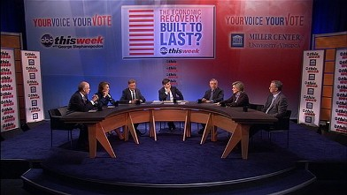 """PHOTO: """"This Week,"""" in partnership with the University of Virginia's Miller Center, tackled the critical topic, """"America's Economic Recovery: Is It Built to Last?"""""""