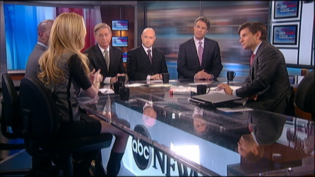 """PHOTO: ABC News George Will, The New York Times Matt Bai, Conservative Commentator Ann Coulter, Former White House Environmental Adviser and Author of """"Rebuild the Dream"""" Van Jones, and ABC News Nightline Co-Anchor Terry Moran on """"This Week."""""""