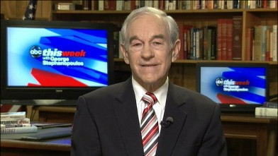 """PHOTO: Republican presidential candidate Ron Paul is interviewed on """"This Week."""""""