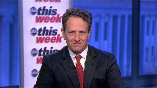"PHOTO: Treasury secretary Timothy Geithner is interviewed on ""This Week."""