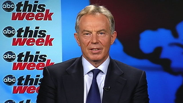 "PHOTO: Mideast envoy Tony Blair, the former British prime minister, is interviewed on ""This Week"""