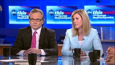 """PHOTO: Obama Deputy Campaign Manager Stephanie Cutter and Romney Campaign Senior Adviser Eric Fehrnstrom on """"This Week with George Stephanopoulos."""""""