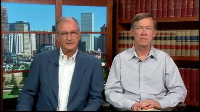 "PHOTO: Colorado Governor John Hickenlooper and Aurora Mayor Steve Hogan on ""This Week""."