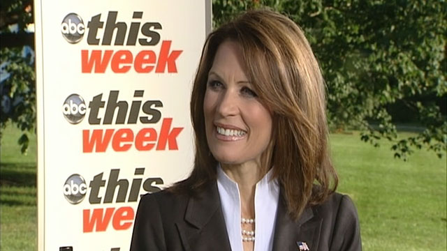 "PHOTO: Rep. Michele Bachmann is interviewed on ""This Week."""