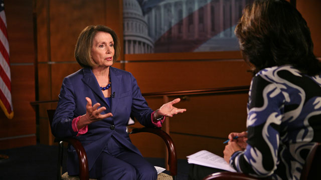 """PHOTO:Dem. Leader Nancy Pelosi sits with """"This Week"""" anchor Christiane Amanpour."""