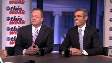 "PHOTO: Obama Campaign Senior Adviser Robert Gibbs and Romney Campaign Senior Adviser Kevin Madden on ""This Week""."