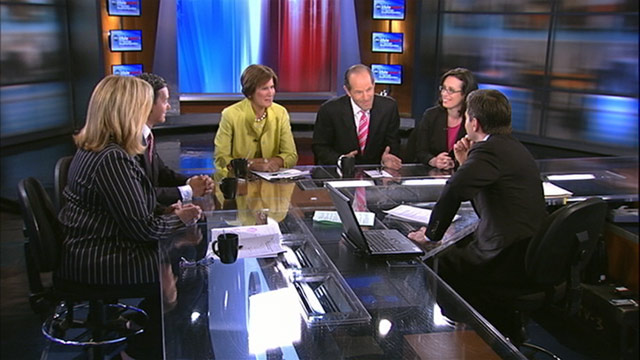 """PHOTO: Republican Strategist Mary Matalin, Former New York Governor and Host of """"Viewpoint with Eliot Spitzer"""" on Current TV Eliot Spitzer, Democratic Strategist Hilary Rosen, Founder & Chair of the Faith and Freedom Coalition Ralph Reed, and Senior POLIT"""