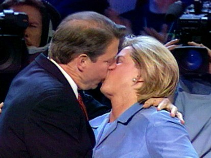 VIDEO: Al and Tipper Gore kiss at the 2000 Democratic National Convention.
