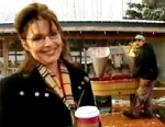 Picture of Sarah Palin at a turkey farm.
