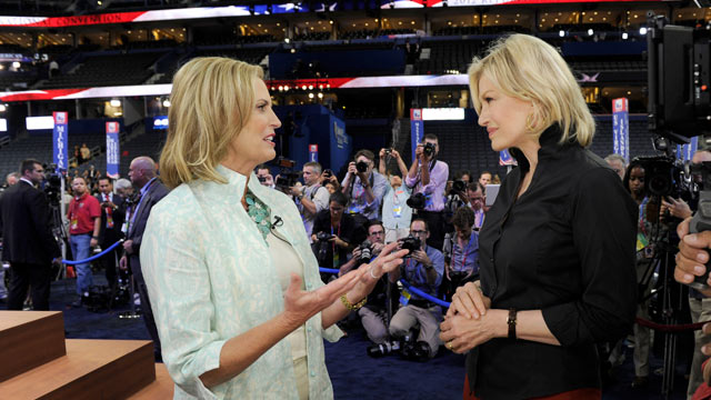 "PHOTO: Diane Sawyers exclusive interview with Ann Romney, taped the afternoon of her anticipated speech, August 282012 on ""World News with Diane Sawyer,""."