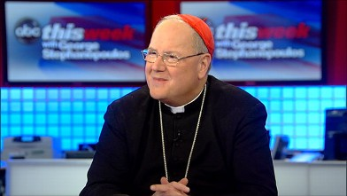 """PHOTO: Archbishop of New York Cardinal Timothy Dolan speaks to George Stephanopoulos in a special Easter Sunday edition of """"This Week."""""""