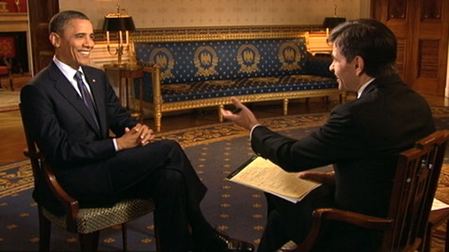 PHOTO:George Stephanopoulos interviews Pres. Obama