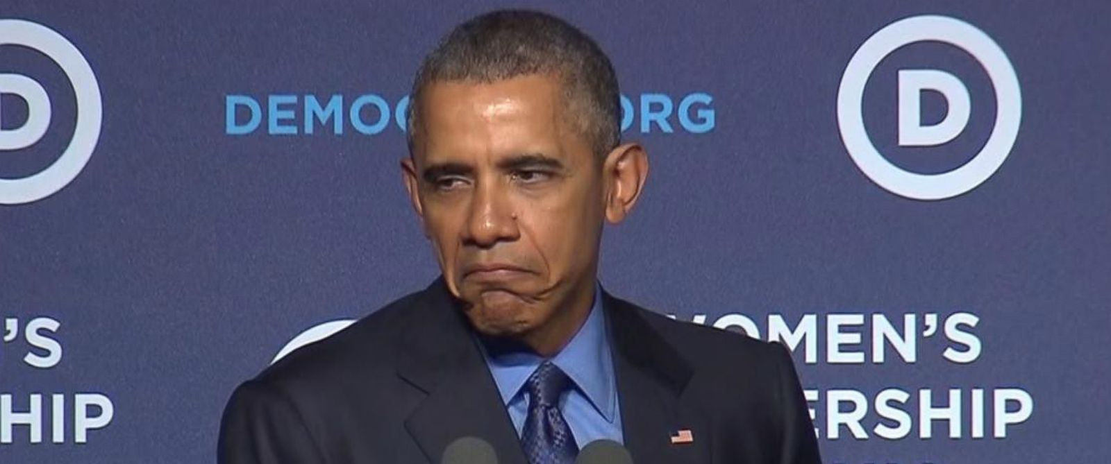 PHOTO: President Obama makes a face while speaking at the Democratic Womens Leadership Forum in Washington, D.C. on Oct. 23, 2015.