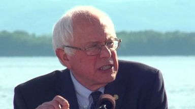 PHOTO: Senator Bernie Sanders officially announces his run for president during an event at Waterfront Park in Burlington, Vt., May 26, 2015.